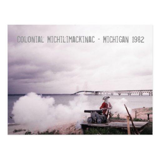 Postal colonial de Michilimackinac Michigan