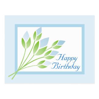 Postal color de rosa azul del feliz cumpleaños de