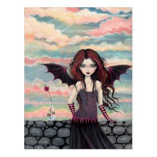 Postal color de rosa gótica de la hada del vampiro