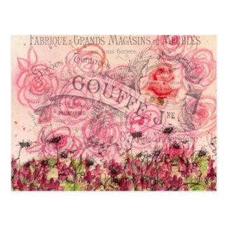 Postal color de rosa rosada francesa de la acuarel