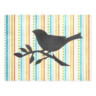 Postal coloreada del pájaro de las rayas