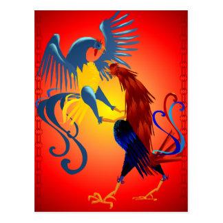 Postal colorida de dos gallos que lucha