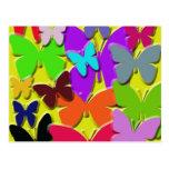 Postal colorida de las mariposas