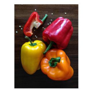 Postal colorida de las pimientas