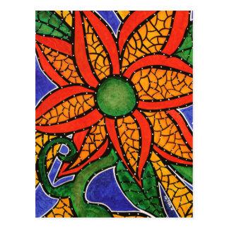 Postal colorida del arte de la flor abstracta