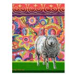Postal colorida del arte de las ovejas