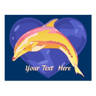 Postal colorida del delfín