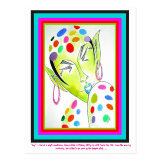 Postal con arte original -- Hada/duende coloridos