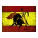 Postal con corrida en bandera española sucia