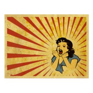 Postal con el dibujo fresco del chica del vintage