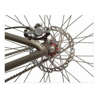 Postal con el eje de rueda de la bici