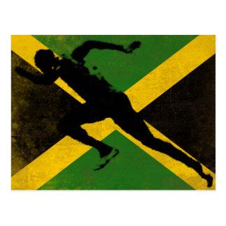 Postal con el esprinter en la bandera de Jamaica