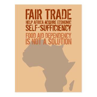 Postal con el mensaje original del comercio justo