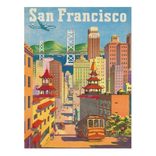 Postal con el poster de San Francisco del vintage