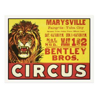 Postal con el poster del circo del vintage