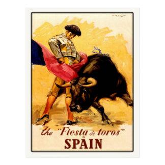 Postal con el poster español de la corrida