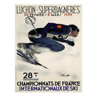 Postal con el poster fresco del esquí de Francia