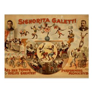 Postal con el poster viejo del circo