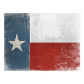 Postal con la bandera apenada vintage de Tejas