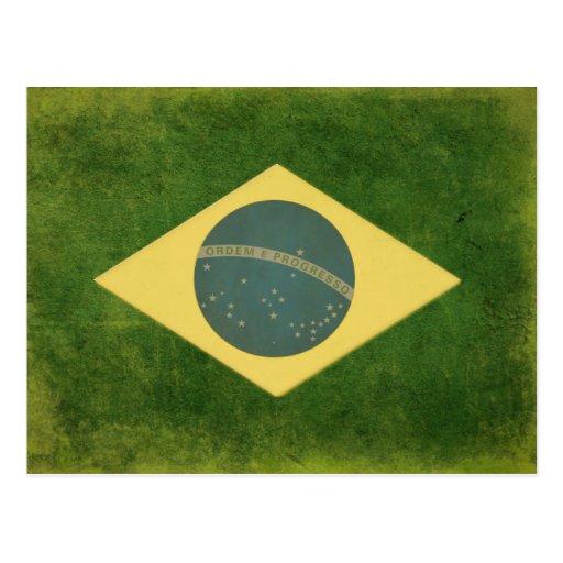 Postal con la bandera brasileña fresca