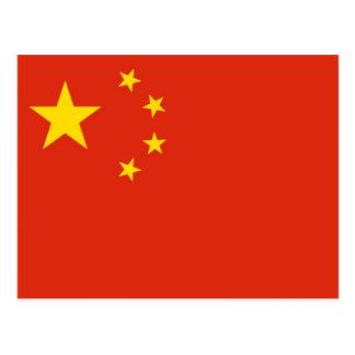 Postal con la bandera de China