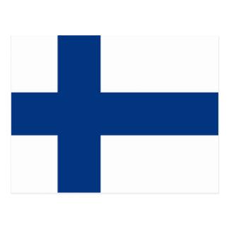 Postal con la bandera de Finlandia