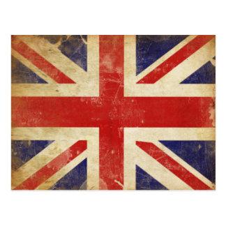 Postal con la bandera de Gran Bretaña del vintage