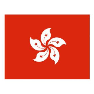 Postal con la bandera de Hong Kong, China