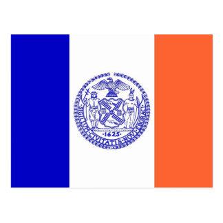 Postal con la bandera de New York City - los