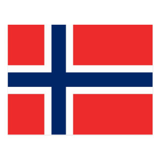 Postal con la bandera de Noruega