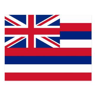 Postal con la bandera del estado de Hawaii - los E