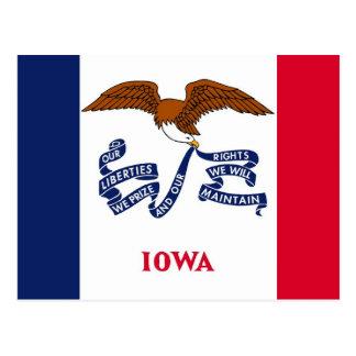 Postal con la bandera del estado de Iowa - los