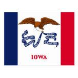 Postal con la bandera del estado de Iowa - los E.E
