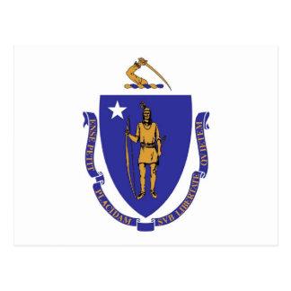 Postal con la bandera del estado de Massachusetts