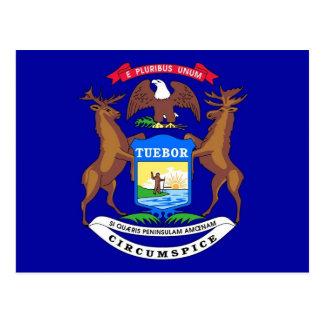 Postal con la bandera del estado de Michigan - los