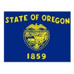 Postal con la bandera del estado de Oregon - los E