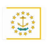 Postal con la bandera del estado de Rhode Island -