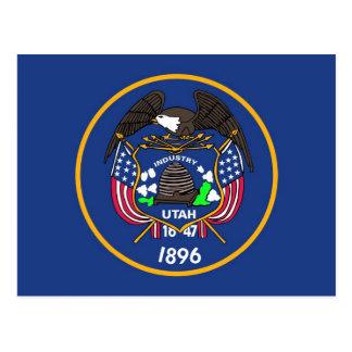 Postal con la bandera del estado de Utah - los E E