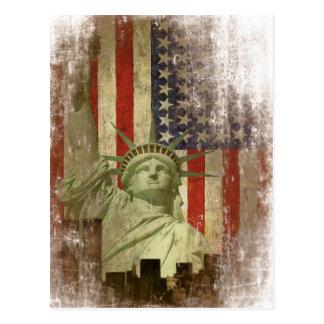 Postal con la bandera del horizonte de Nueva York