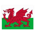 Postal con la bandera del País de Gales