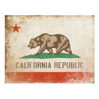 Postal con la bandera fresca de California