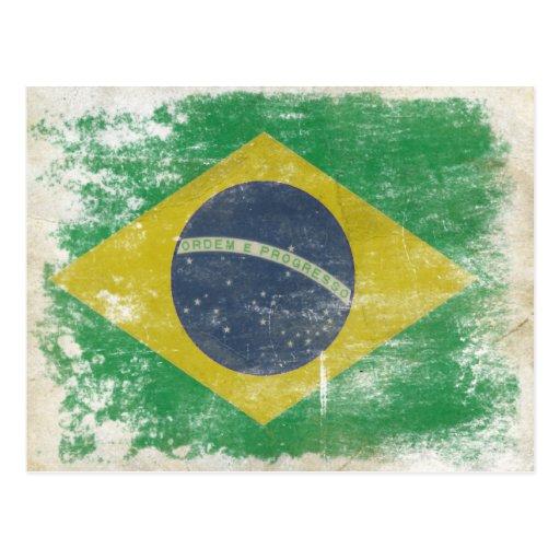 Postal con la bandera sucia del Brasil
