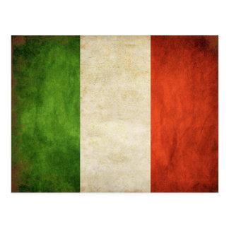 Postal con la bandera sucia del italiano del vinta