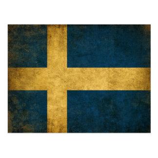 Postal con la bandera sucia del sueco del vintage