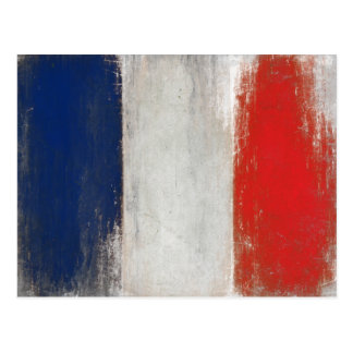 Postal con la bandera sucia del vintage de Francia