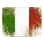 Postal con la bandera sucia del vintage de Italia