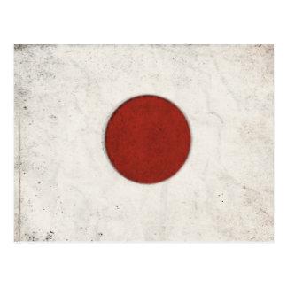 Postal con la bandera sucia del vintage de Japón