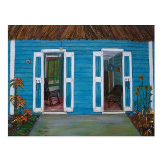 Postal con la casa de país caribeño