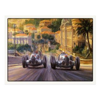 Postal con la competición de los coches de competi