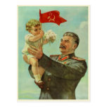 Postal con la impresión de la propaganda de Stalin
